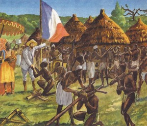 Brazza délivre des esclaves dans un village du Congo, image de propagande extraite des Belles Images d'histoire